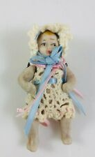 Vintage Japan Bisque Doll Miniature Jointed Baby Doll in Crocheted Clothes