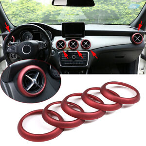 5*Red ABS Air Vent Outlet Ring Cover For Mercedes Benz A GLA CLA Class 2013-2018