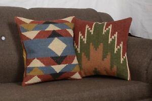 2 Set of Vintage Kilim Pillow Case 18x18 Hand Woven Jute Rug Rustic Pillow 8206