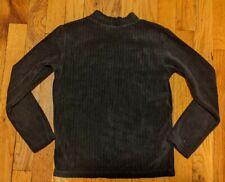 EUC Uniqlo Girls Black Ribbed Fleece Long Sleeve Shirt, Size 7-8
