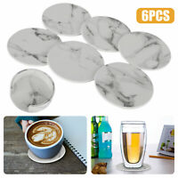 6PCS/Set Round Coasters for Drinks Absorbent with Holder Non-Slip Marble Pattern