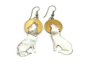 Vintage Sterling Silver & Brass Wolf Howling At The Moon Dangle Hook Earrings