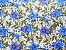 Medium Clematis climbing blue-Purple Fabric 1 mtr x 112 cm F903-4 100% Cotton