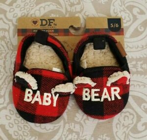 Dearfoams BABY BEAR Red Buffalo Plaid Slippers 5-6 Months Baby Shoes NWT