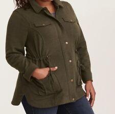 c8f3d6c3473 Torrid Olive Green Washed Knit Utility Shirt Jacket 00x Med Large 10  43527