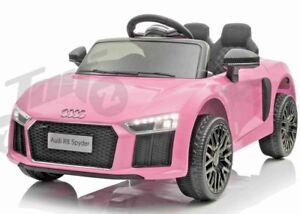 Kids Official Licensed Audi R8 12V Battery Ride on Car Motorbike Remote Pink