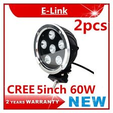 """5"""" 2pcs 60W ROUND CREE LED WORK LIGHT Flood OFFROAD BOAT TRUCK 4X4 4wd Driving"""