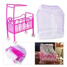 For Barbie Doll Nursery Cradle Bed Miniature Dollhouse Toy Bedroom Furniture