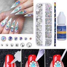 Selector de cristales 3Pcs/set Uñas Pedrería con pluma Pegamento de uñas Puntas de 3D de las Decoraciones Hágalo usted mismo