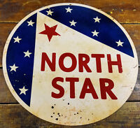"North Star Red White Blue Gas Station Style 14"" Round Metal Advertising Sign"