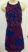 Trulli Size 2 Purple Blue Pink Black Floral Ruffle Sleeveless Casual Party Dress