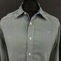 Mustang Mens Shirt MEDIUM Long Sleeve Blue Regular Fit Striped Cotton