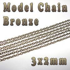 HOBBY MODELLO CHAIN - 3mm x 2mm-color bronzo-al metro