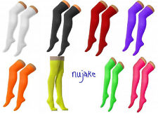 Over The Knee Thigh High Ladies Plain Cotton Lycra Socks Sox Fancy Dress Party