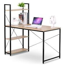 Home office Studio Writing Desk Computer table with Built-in 4 Tier Bookshelves