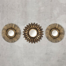 3 Bronze Mirrors Sunburst Moroccan Style Hanging Wall Mount Vintage Home Decor