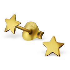 14ct Gold-Plated 925 Sterling Silver Star Stud Earrings