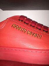 NUOVO Bambini Designer Roberto Cavalli Scarpe Da Ginnastica in Pelle Rossa Taglia 32