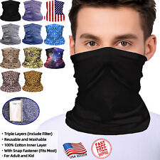 Face Mask Neck Gaiter with Filter Balaclava Tube Bandana Scarf for Adult and Kid