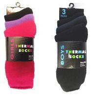 6 Pairs BOYS Childrens Thermal  Winter Warmer Socks Kids Socks9-12 BLACK/GREY