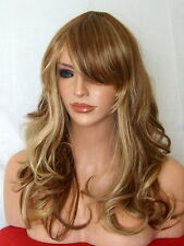 Light Brown Highlight wavy Women real natural fashion costume Full fringe WIG P9