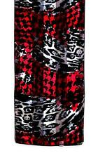 SCARF Long Deep Red Black White Gray Abstract Design HOUNDSTOOTH & MORE