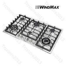 "WindMax 34"" Stainless Steel 6 Burner Built-In Stove LPG Cooktop Cooker"