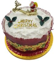 4 piece SET Merry Christmas Cake Decorations yule log cupcake toppers