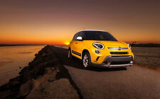 "FIAT 500L SUNRISE A1 CANVAS PRINT POSTER FRAMED 33.1"" x 21.4"""