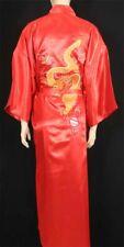 Red Embroidered Dragon Design Silk Kimono Robe Sleepwear Long w/ Waist Tie