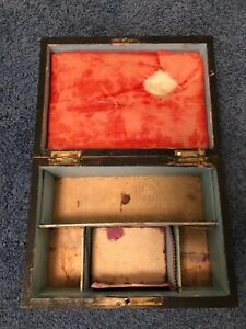 Antique Wooden Sewing Box stained, inlaid lid, pale blue interior, red velvet