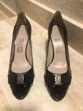 Authentic Salvatore Ferragamo Bow Black Patent Leather Peep Toe Pump Size 10