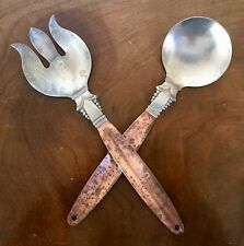 Salad Serving Spoon & Fork Copper Craft Guild Taunton Mass Art Deco Style