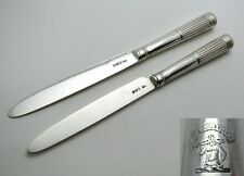 Pair 1802 Antique GEORGIAN Sterling Silver Table Knives Moses Brent Dread God