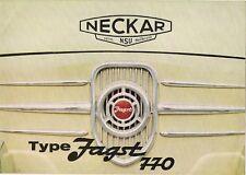 NSU NECKAR Jagst 770 c1966 UK mercato opuscolo standard DE-LUXE Hardtop FIAT 600