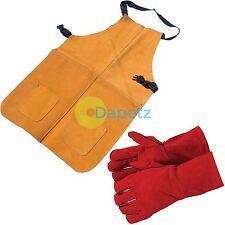 Heavy Duty Welders Welding Apron & Gauntlets Gloves Red Leather Safety