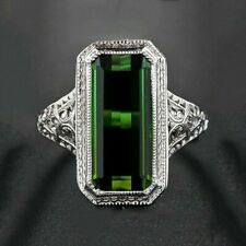 Huge Emerald White Topaz 925 Silver Ring Wedding Engagement Jewelry Size 6-10