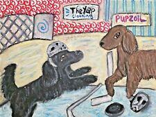 Flat Coated Retriever Dog Art Print 4 x 6 Collectible Signed Artist Ksams Hockey