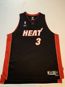 VTG Reebok NBA Miami Heat Dwayne Wade #3 Black Jersey Mens 2XL Sewn EUC Mint 🔥