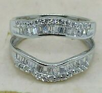 1.20Ct Diamond Solitaire Jacket Enhancer Wedding Wrap Ring 14K Gold Over Silver
