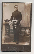 Vintage CDV German Military Man in Uniform Hat Sabre Boots  Augsburg