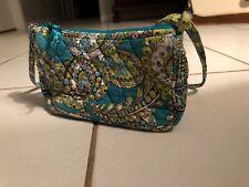 Vera Bradley Peacock Mini Hand Bag Purse Teal Zipper Cross Body