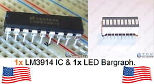 x1 LM3914 LED Display Driver & 10-Seg LED Bargraph Light Bar for Audio VU Meter