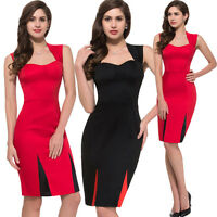 Vintage 50s 60s Ladies Office Evening Cocktail Party Midi Pencil Dress Red Black