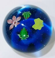 Hand Blown Art Glass Paper Weight  With Frogs Controlled Bubbles