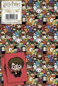 Harry Potter Gift Wrap 2 Sheet 2 Tags 70cmx50cm Official Merchandise NEW UK