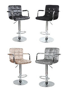 Crushed Velvet Bar Stool Leather Swivel Foot Rest Chair Kitchen Breakfast Seat