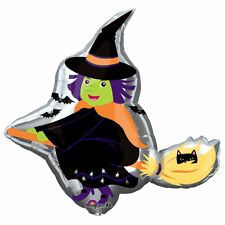 Grand Sorcière D'Halloween Ballon Plat Super Forme Décoration de Fête Halloween