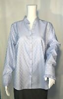 Chico's Navy Blue /White Polka Dots Neck Long Sleeves Top Women's Size 1