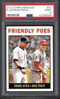 2013 TOPPS HERITAGE #41 DEREK JETER/MIKE TROUT Friendly Foes PSA 9 MINT
